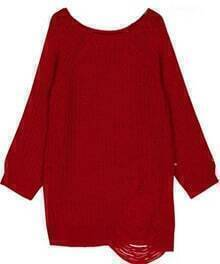 Red Raglan Sleeve Ripped Loose Sweater