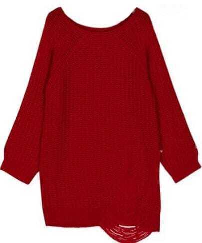 Red Raglan Sleeve Ripped Loose Sweater