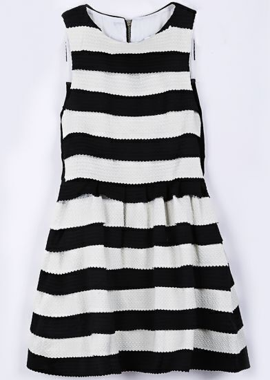 Black White Striped Sleeveless A Line Dress