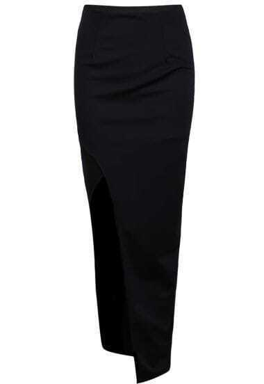 Black Slim Bodycon Split Skirt