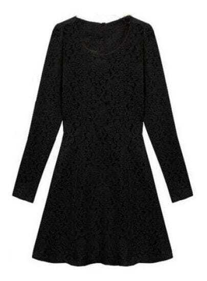 Black Long Sleeve Floral Lace Belt Pleated Dress