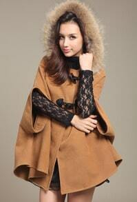 Camel Fur Hooded Bow Cape Woolen Coat