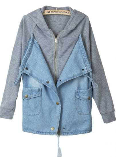 Grey Hooded Contrast Blue Denim Pockets Outerwear