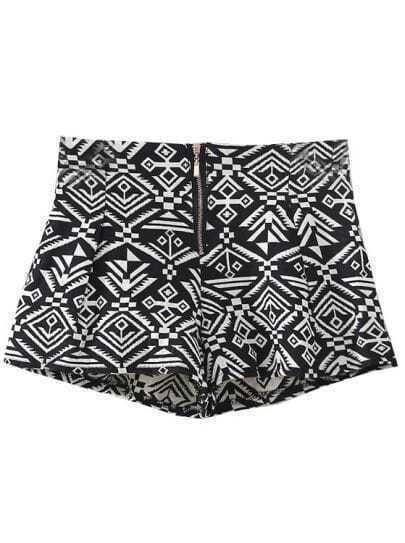 Black Elastic Waist Geometric Print Zipper Shorts