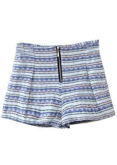 Blue Elastic Waist Striped Zipper Shorts