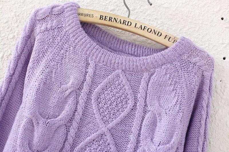 Purple Long Sleeve Diamond Patterned Knit Sweater -SheIn(Sheinside)
