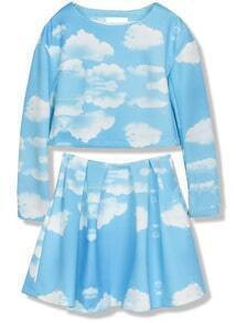 Blue Long Sleeve Cloud Print Top With Skirt