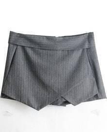Grey Asymmetric Front Pinstrip Shorts