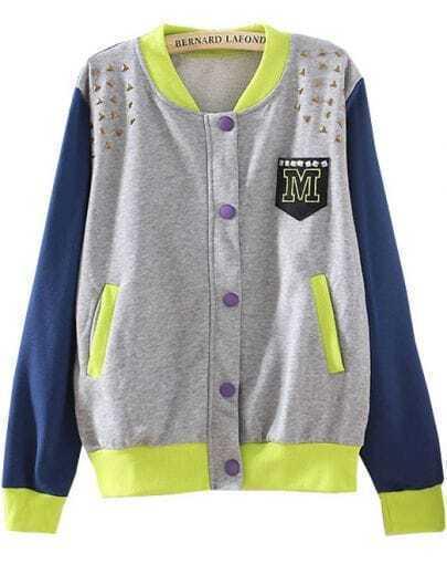 Grey Contrast Long Sleeve Rivet Loose Jacket