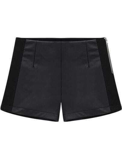 Black Contrast Knitting Panel Side Zip Shorts