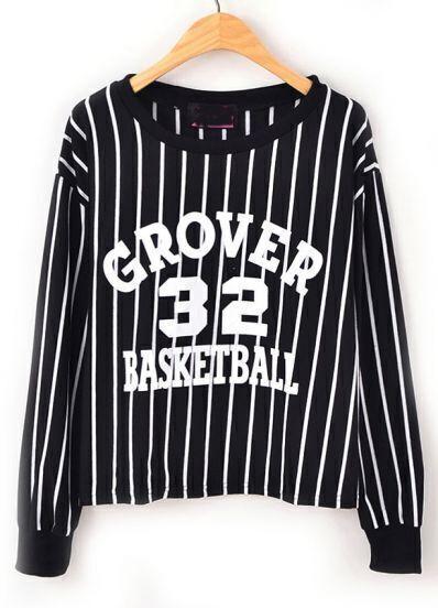 Black GROVER 32 BASKETBALL Stripe Print Sweatshirt