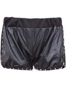 Black Contrast PU Leather Front Rivet Embellished Shorts