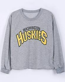 Grey Long Sleeve KUSKIES Print Crop Sweatshirt