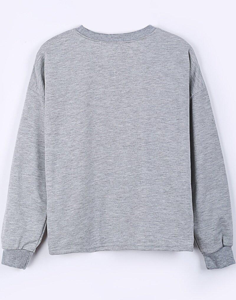 Grey Long Sleeve KUSKIES Print Crop Sweatshirt -SheIn(Sheinside)