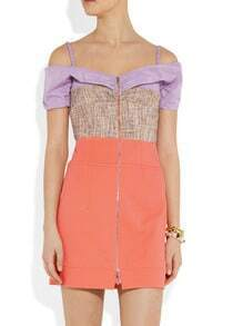 Orange and Purple Straps Off The Shoulder Zip Dress