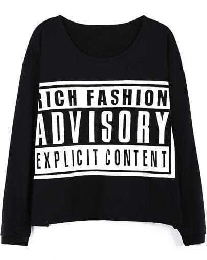 Black ADVISORY Print Long Sleeve Loose T-shirt