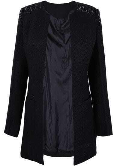 Black Round Neck Studded Embellished Shoulder Wool Coat