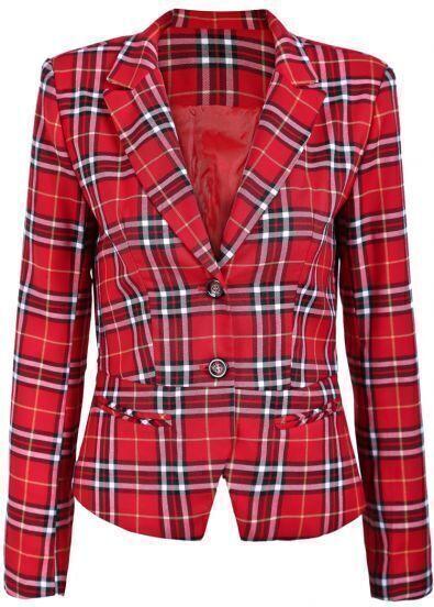 Red Lapel Long Sleeve Plaid Print Crop Blazer