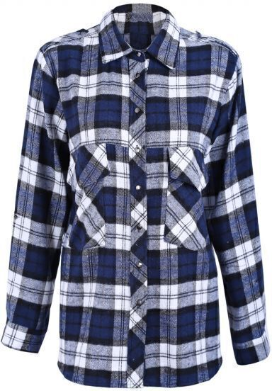 Navy and White Plaid Print Long Sleeve Blouse