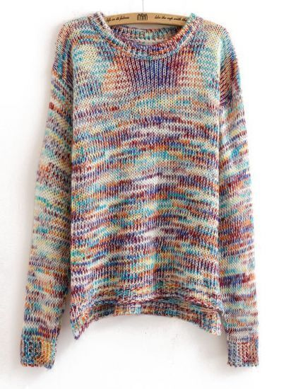 Multicolor Dip Dye Dropped Shoulder Chunky Knit Sweater