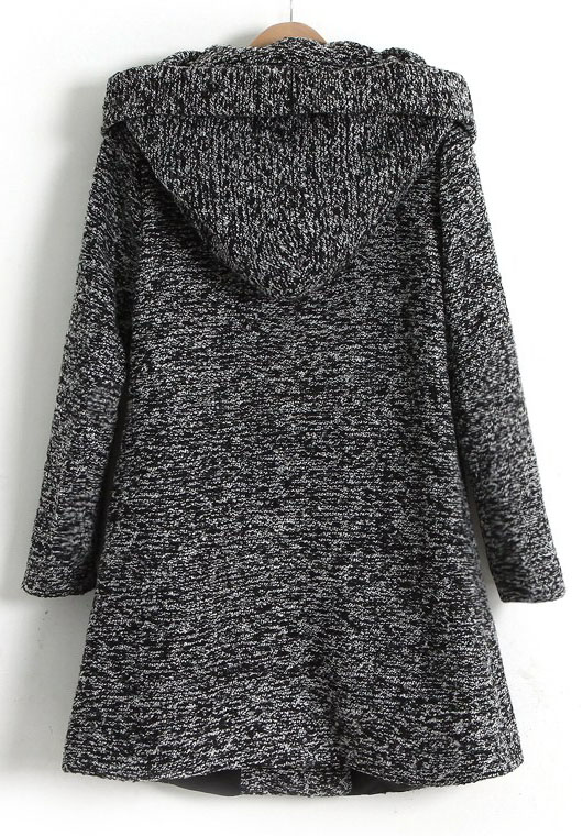 Dark Grey Long Sleeve Hooded Oblique Pocket Tweed Coat -SheIn ...