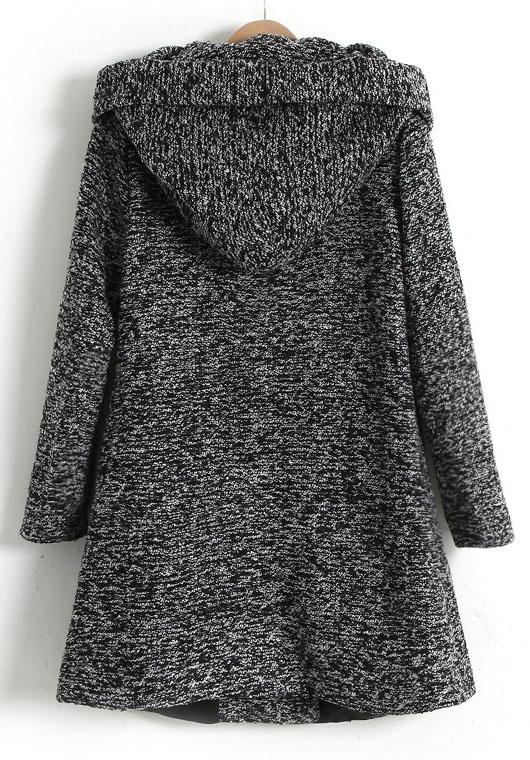 Dark Grey Long Sleeve Hooded Oblique Pocket Tweed Coat -SheIn ...
