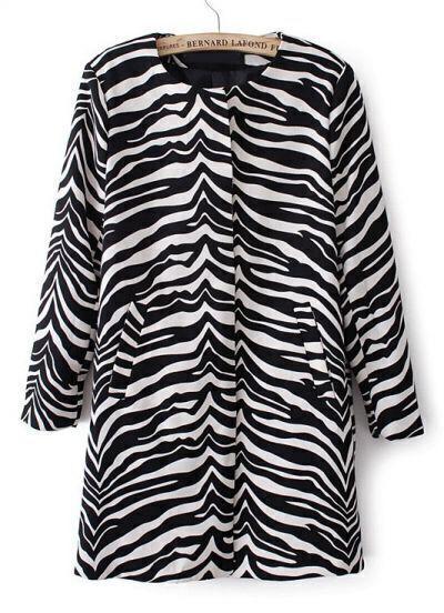 Black and White Zebra Print Round Neck Coat