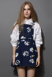 Navy Blue Daisy Floral Print Denim Dungaree Dress