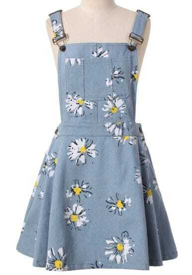 Light Blue Daisy Floral Print Denim Dungaree Dress