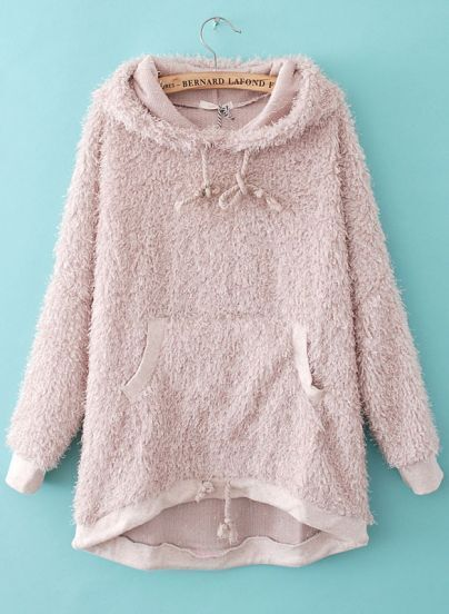Pink Hooded Long Sleeve Shaggy Pockets Sweatshirt