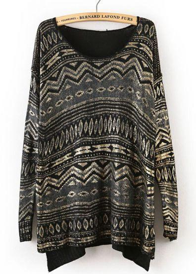Black Long Sleeve Geometric Pattern Dipped Hem Sweater