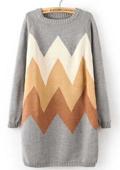 Grey Long Sleeve Zigzag Pattern Long Sweater