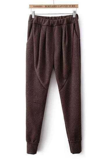 Coffee Elastic Waist Pockets Loose Pant