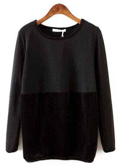 Black Round Neck Long Sleeve Contrast Sweatshirt