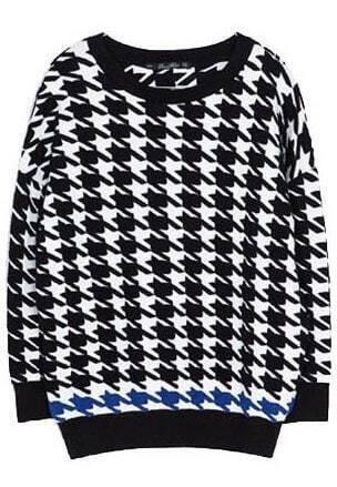 Houndstooth Knitting Pattern In The Round : Black White Round Neck Houndstooth Knit Sweater -SheIn(Sheinside)