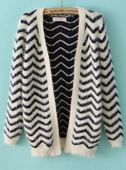 Navy Long Sleeve Zigzag Striped Cardigan