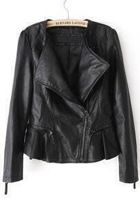 Black Long Sleeve Cuff Zipper Ruffle Leather Jacket