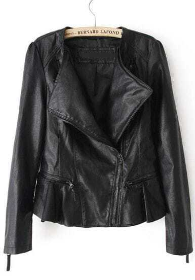 Black Long Sleeve Cuff Zipper Ruffle Leather Jacket