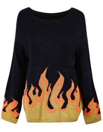 Black Burning Fire Cross Embellished Sweater
