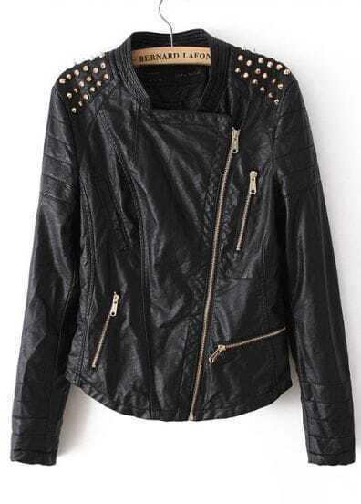 Black Stand Collar Rivet PU Leather Jacket
