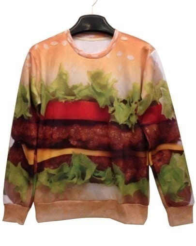 Yellow Hamburger Print Unisex Sweatshirt