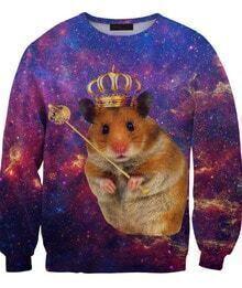 Blue King_Hamster Galaxy Print Unisex Sweatshirt