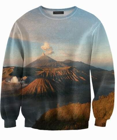 Blue Bluza Volcano Mountains Print Sweatshirt