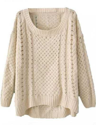 Beige Round Neck Long Sleeve Hollow Asymmetric Sweater