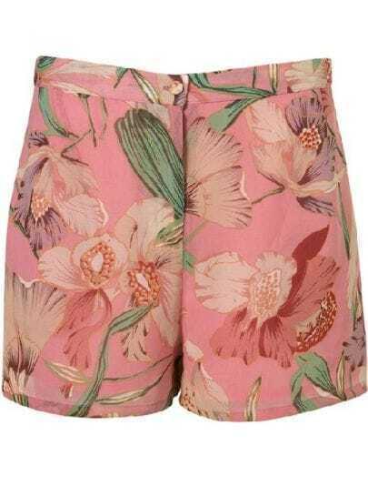 Pink Lily Print Chiffon Shorts
