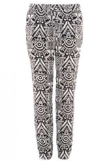 Black White Totem Print Elastic Waist Pant