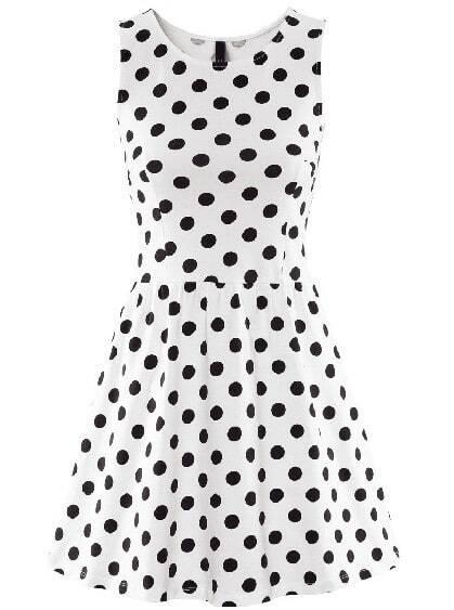 White Sleeveless Polka Dot Ruffle Dress -SheIn(Sheinside)