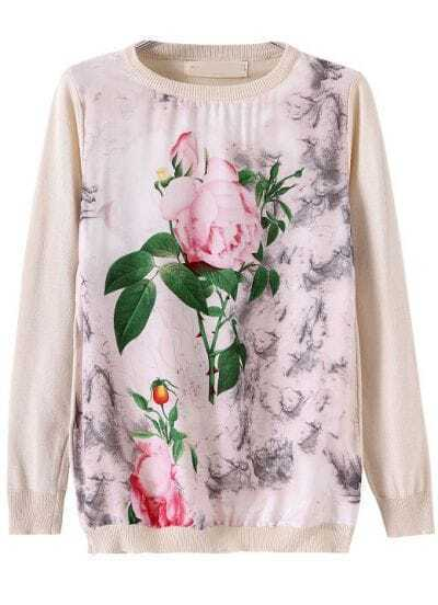 Apricot Long Sleeve Floral Leaves Print Sweater