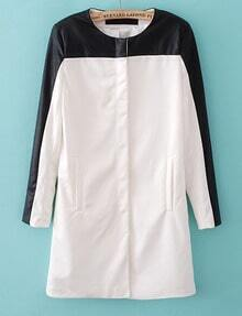 White Contrast Black Long Sleeve Leather Trench Coat
