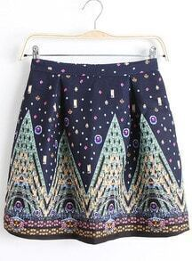 Navy Palace Print Pleated Flare Skirt